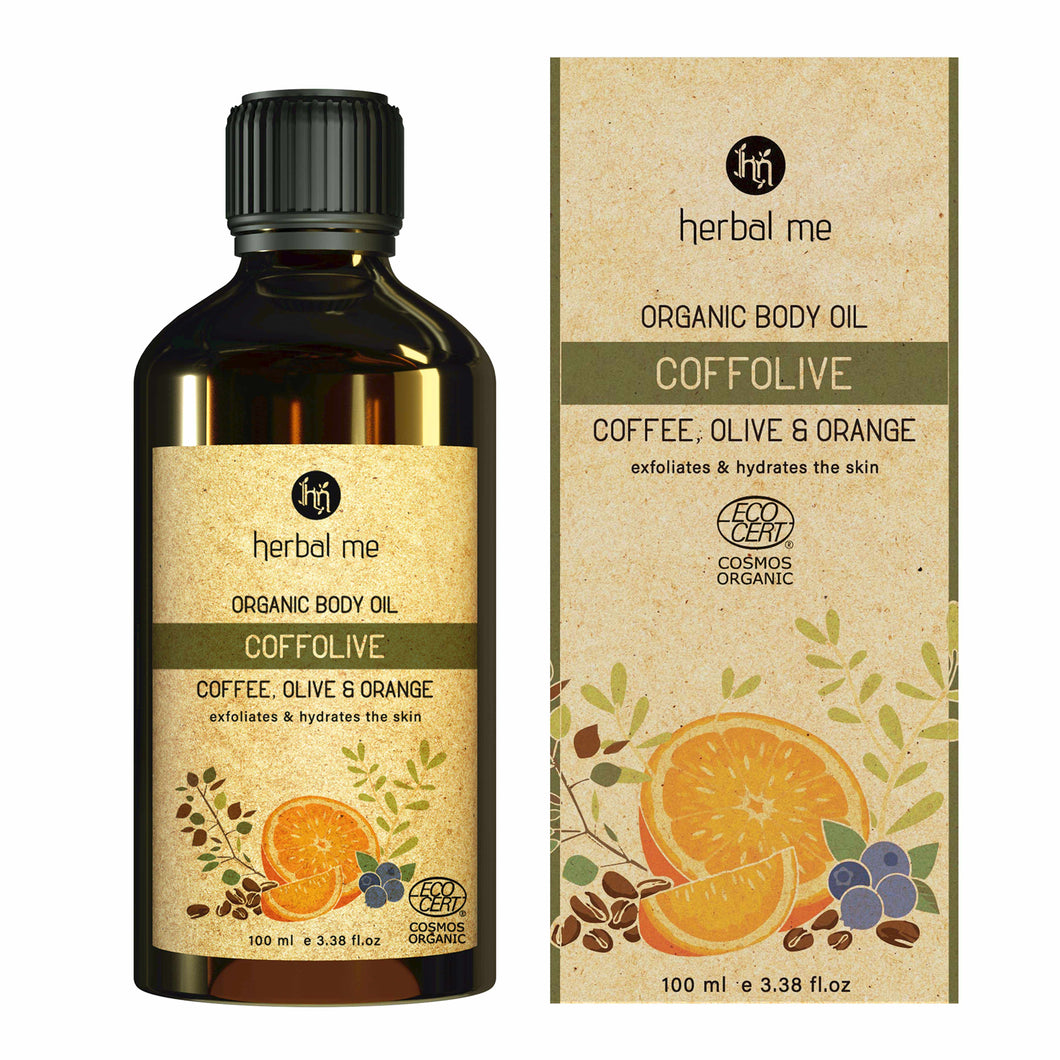 Coffolive Body Oil - Exfoliation & Hydration - Coffee, Olive, Orange & Tamanu - 100 ml