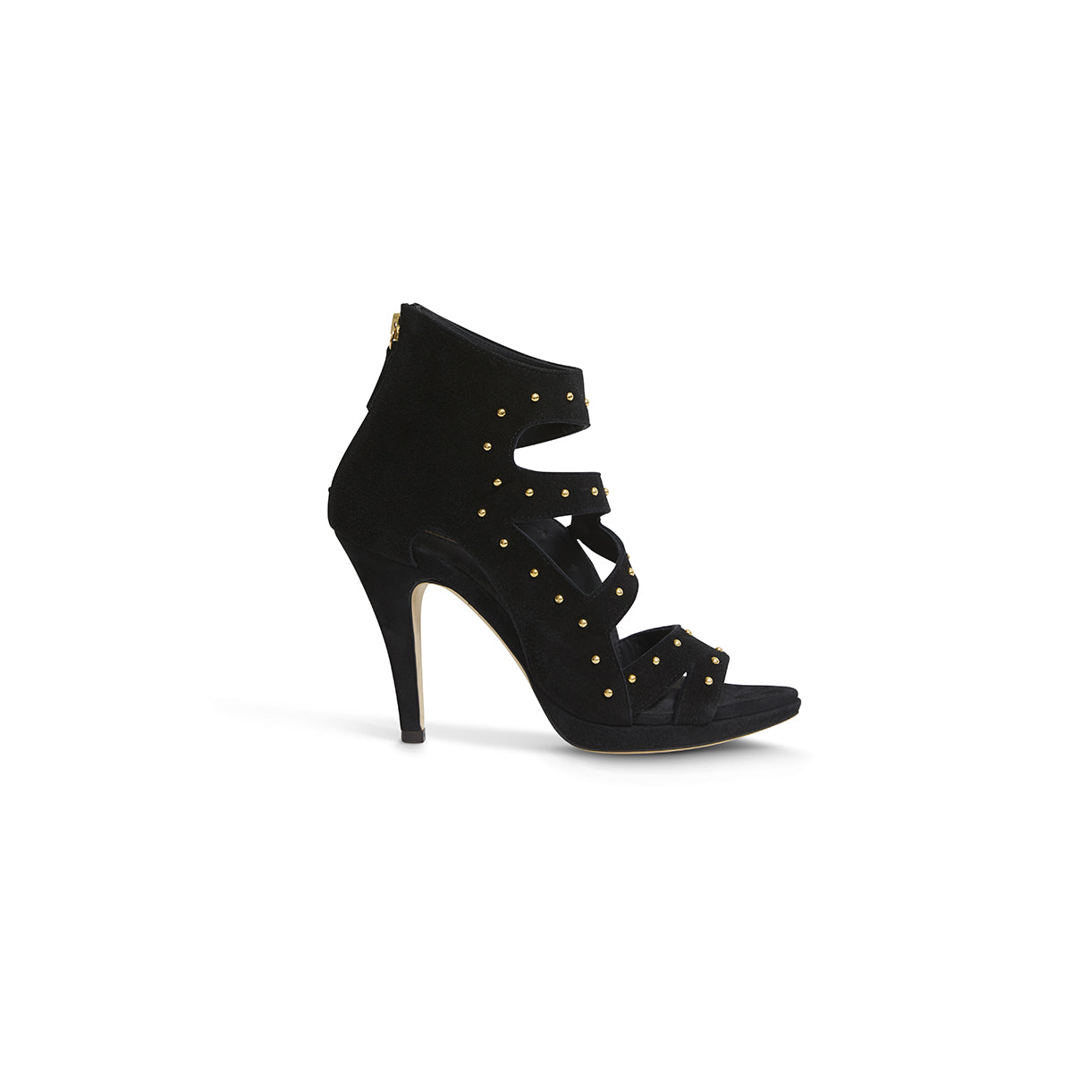 Dare Black Suede with Gold Studs
