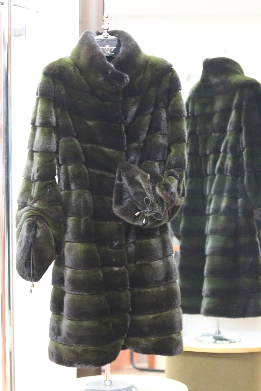 green dyed mink coat