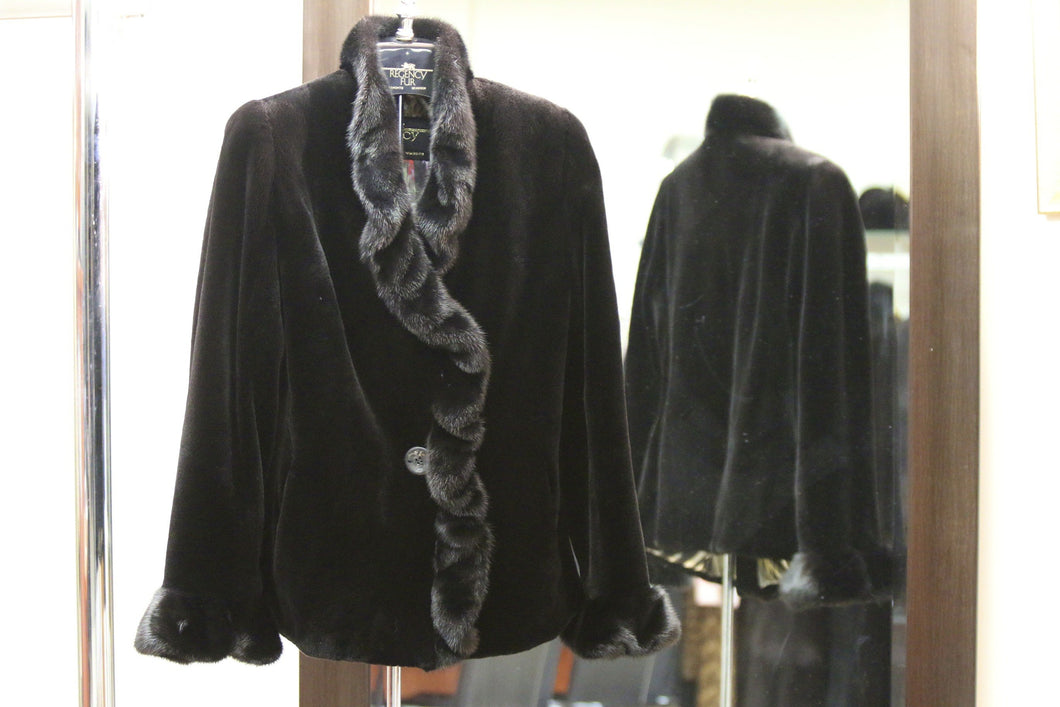 black sheared mink jacket