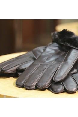 men's leather gloves w/ rabbit lining