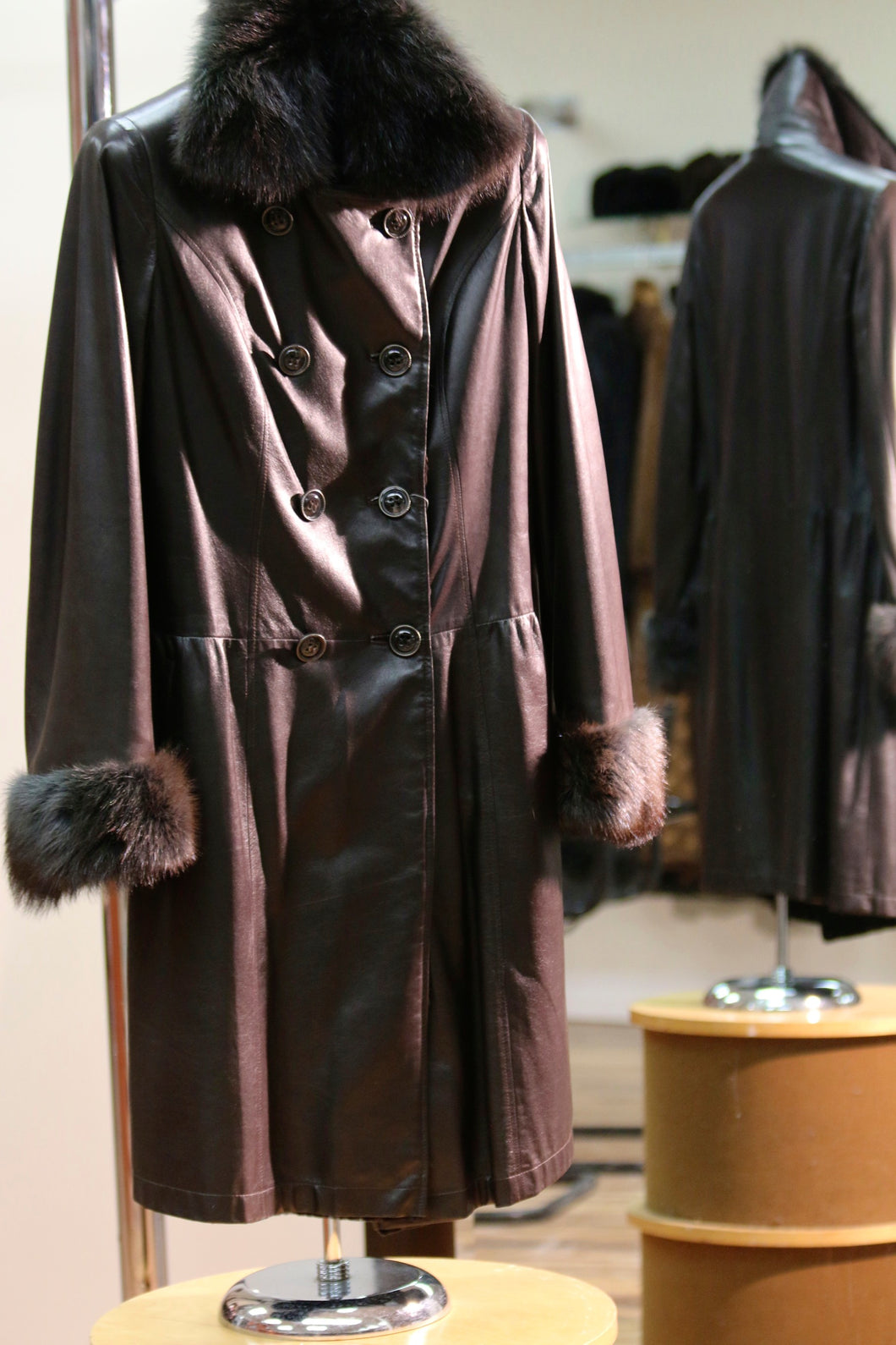 leather fur lined coat