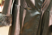 Load image into Gallery viewer, leather fur lined coat