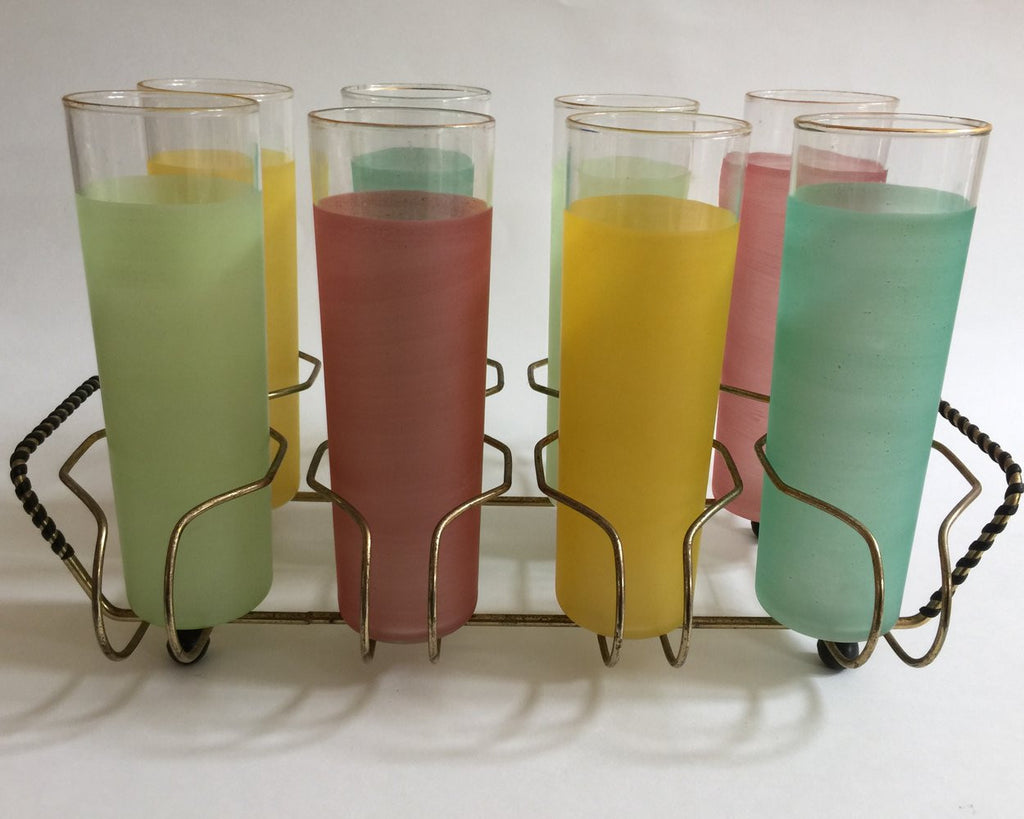 Colorful Mid-Century Glasses in Carrier