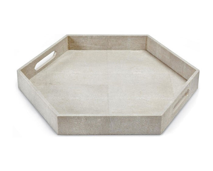 Ivory Grey Faux Shagreen Hexagon Tray