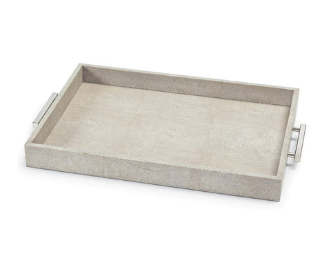 Ivory Grey Faux Shagreen Rectangular Tray