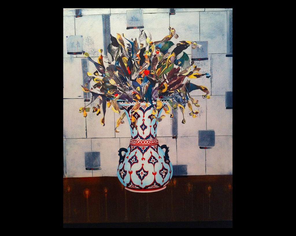 Geometric Vase Oil and Collage