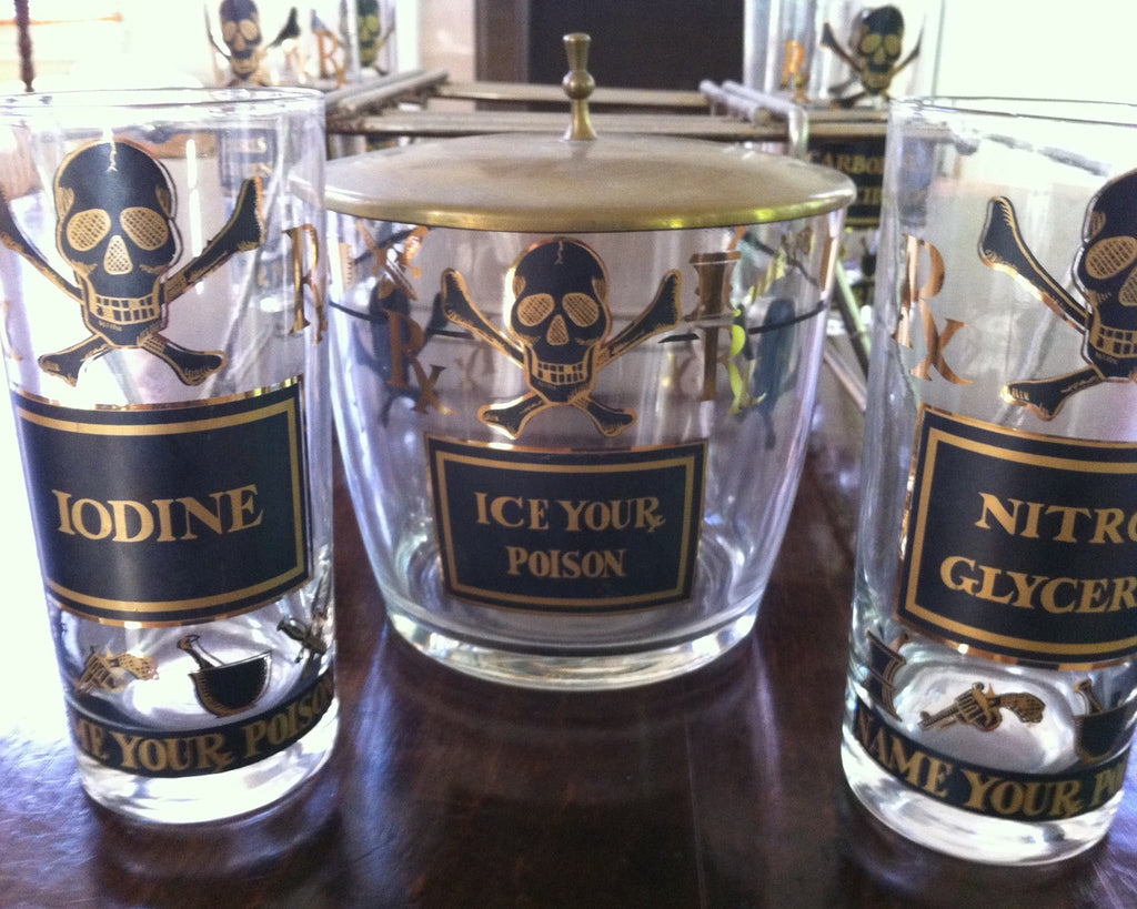 Georges Briard Skull Glasses & Ice Bucket