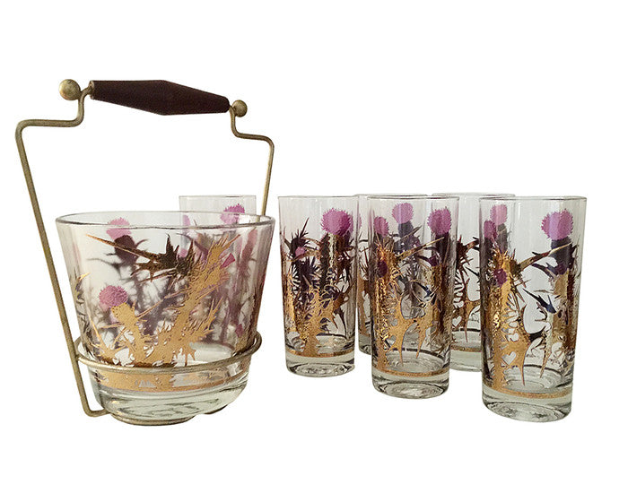 Gregory Duncan Purple Burst Thistle Vintage Highball Glasses