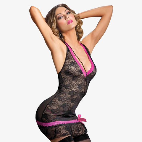 Two Piece Set Halter Lace Chemise