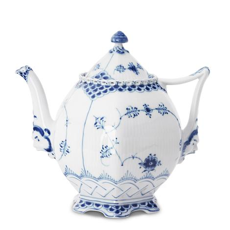 R.C. Blue Fluted Full Lace Teapot