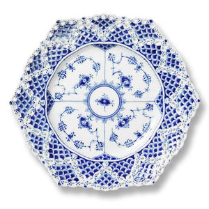 R.C. Blue Fluted Full Lace Cake Plate w/  Double Lace Border