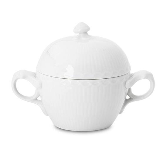 Royal Copenhagen White Half Lace Covered Sugar Bowl 6.75 oz.