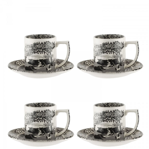 Spode Black Italian Espresso Cup & Saucers set of 4