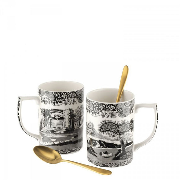 Spode Black Italian Mug & Spoon set of 2
