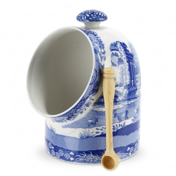 Spode Blue Italian Salt Pig with Spoon 6.5