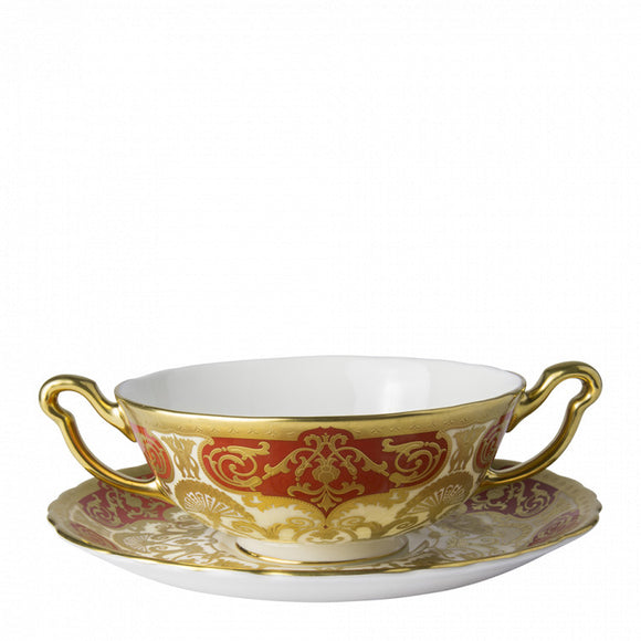 HERITAGE RED & CREAM - CREAM SOUP CUP & SAUCER