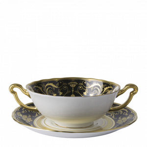REGENCY BLACK - CREAM SOUP CUP & STAND