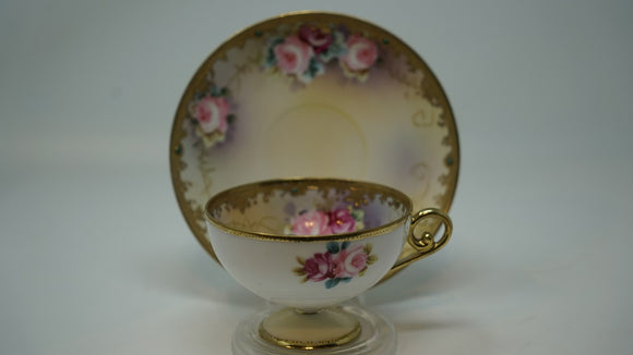 Nippon Jewelled Footed Teacup and Saucer Hand Painted Roses
