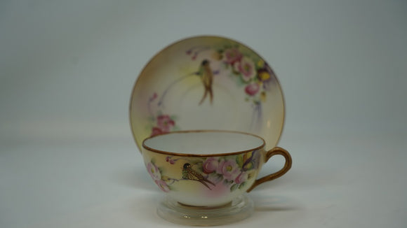 Nippon Hand Painted Bird & Floral Cup and Saucer