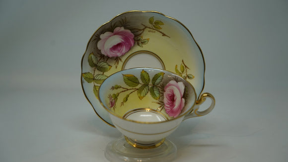 Foley Bone China Cup Saucer Roses Hand Painted Signed A.Taylor