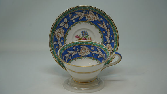 Copeland Grosvenor China Blue Dutchess Cup & Saucer