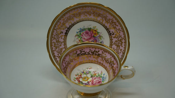Grosvenor Fine Bone China Pink with Floral Centre and Gold