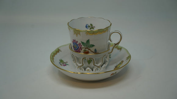 Herend Victoria Trembleuse cup and saucer Florals & Butterflies