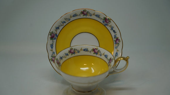 Bavaria Royal Bayreuth Floral Boarded Yellow Cup & Saucer