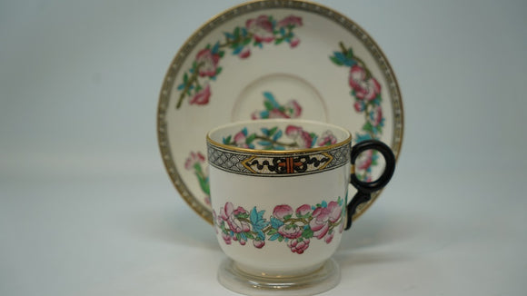 English Breakfast Cup and Saucer Hand Painted India Floral