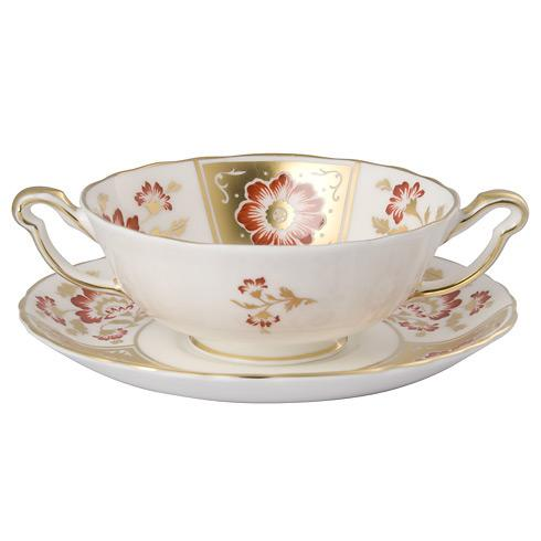 Derby Panel Red Cream Soup & Saucer