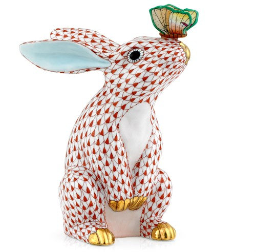 Bunny with Butterfly on Nose Figurines – Fishnet Color Red
