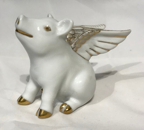 Herend Flying Pig - When Pigs Fly 15299-0-00 White Gold