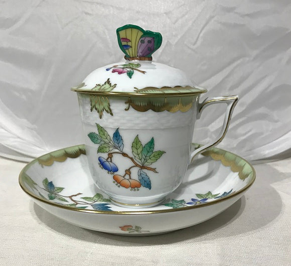 Herend Victoria Lidded Cup And Saucer Butterfly Knob