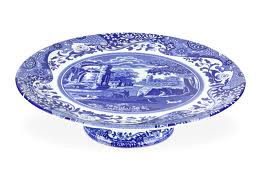 Spode Blue Italian Footed Cake Plate 10.5