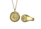 Home Ring and Pendant Set in Matte Gold