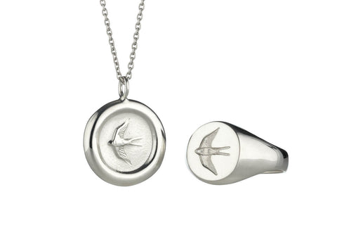 Home Ring and Pendant Set in Silver