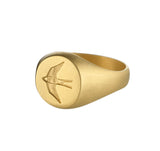 Mens Home Ring in Matte Gold