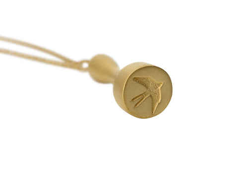 Home Signet Pendant in Matte Gold