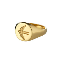 Womens Home Ring in Polished Gold