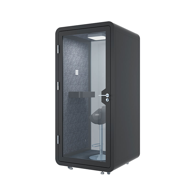 Office Phone Booth 'Coquitlam'. Black soundproof office pod. Getawayer Canada Inc. No ROOM for distractions.
