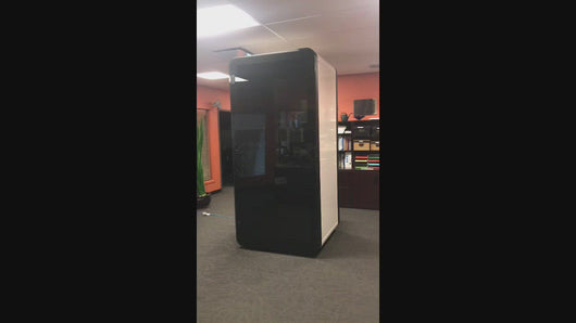 Video review Office Phone Booth 'delta S'. Black and white soundproof office pod. Getawayer Canada Inc. No ROOM for distractions. Made in Canada.