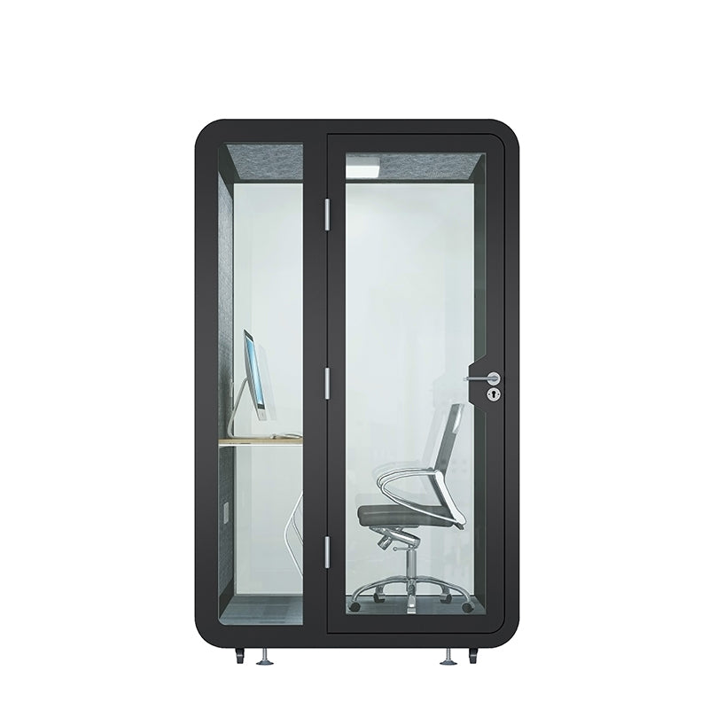 Micro-Office 'Burnaby'. Black soundproof office pod. Getawayer Canada Inc. No ROOM for distractions.
