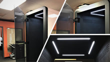 Load image into Gallery viewer, Office Phone Booth 'delta S'. Black soundproof office pod. Getawayer Canada Inc. No ROOM for distractions. Made in Canada. Black felt interior.
