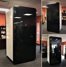 Load image into Gallery viewer, Collage Office Phone Booth 'delta S'. White soundproof office pod. Gawayer Canada Inc. No ROOM for distractions. Made in Canada. Black acrylic door.