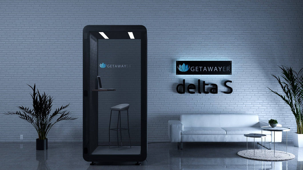 Office Phone Booth 'delta S'. Black soundproof office pod. Getawayer Canada Inc. No ROOM for distractions. Made in Canada.