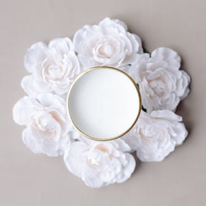 Simple Plain White Ring Dish with Gold Rim