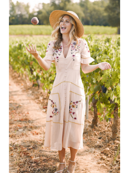 Madeline button down midi dress by Hope & Ivy floral western style