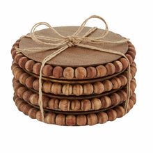 Load image into Gallery viewer, mudpie beaded wood coaster set