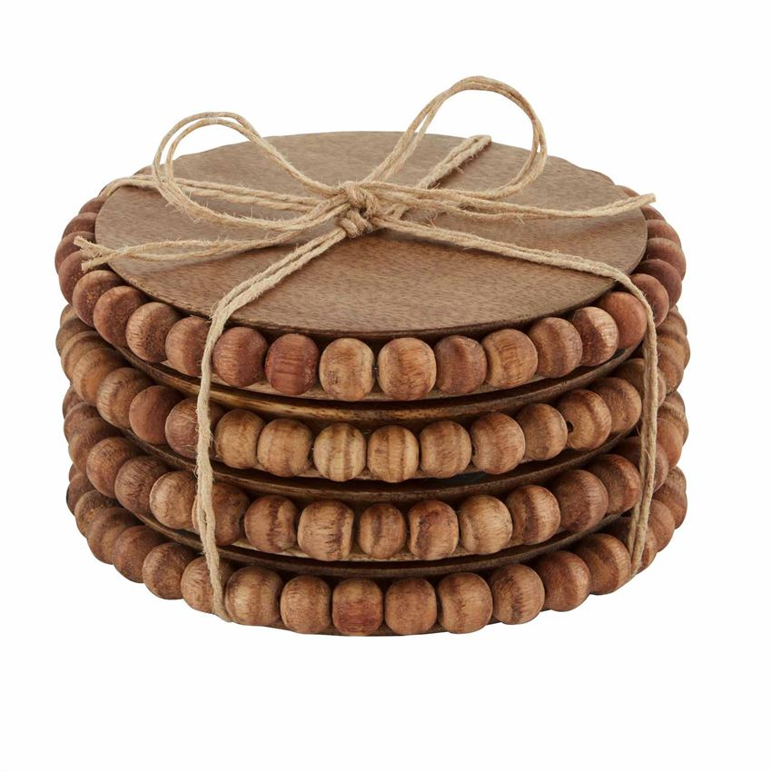 mudpie beaded wood coaster set